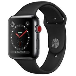 Apple Watch Series 3 boîtier en acier noir sidéral de 38mm avec Bracelet Sport noir Cellular MQLW2 (late 2017)