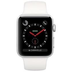 Apple Watch Series 3 boîtier en acier de 38mm avec Bracelet Sport blanc coton Cellular MQLV2 (late 2017)