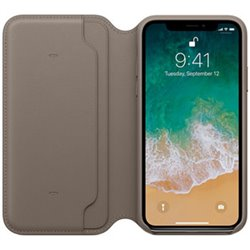 Apple Étui folio en cuir pour iPhone X - Taupe MQRY2