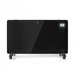 Nedis Panneau Chauffant Convecteur en Verre Thermostat Écran LCD 2 Réglages de Chaleur Sur Pied / Montage Mural 2 000 W Noir