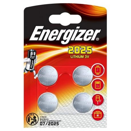 Energizer 4 piles boutons lithium 3V CR 2025 (lot de 2)